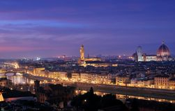 Florence landscape by night with Wide angle Stock Images