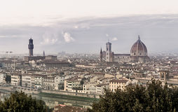 Florence landscape panorama at dusk. Palazzo vecchio and Santa Maria del Fiore dome at background royalty free stock image