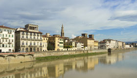 Florence landscape with reflection on Arno river Stock Image