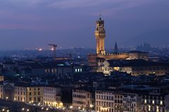 Florence landscape. Riverside and Palazzo Vecchio view from the hills Stock Photo