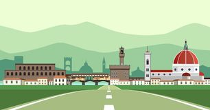 Florence Landscape from the road. An illustration about a romantic Italian landscape with tuscan hills in the background Royalty Free Stock Photos