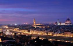 Florence landskap vid natt med bred vinkel Arkivbilder
