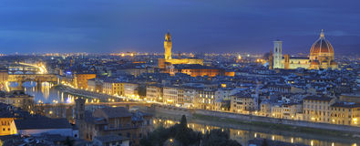 Florence large panorama by night Royalty Free Stock Photos