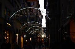 Florence, le 27 novembre 2017 : Décorations de lumières de Noël à Florence Image libre de droits