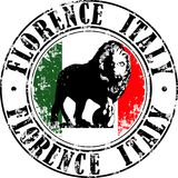 Florence lion stamp. Vector illustration of grunge rubber stamp with symbol of Florence, Italy inside Stock Images
