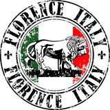 Florence lion stamp. Vector illustration of grunge rubber stamp with symbol of Florence, Italy inside Royalty Free Stock Image