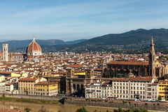 Florence Lungarno, Basilica Di Santa Croce And  Duomo Royalty Free Stock Photos