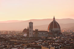 Florence Main Cathedral dome at Dusk Royalty Free Stock Photos