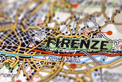 Florence on the map stock photography