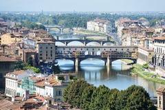 Florence med pontevecchio Fotografering för Bildbyråer