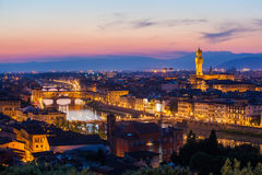 Florence from Michelangelo's hill on a sunset Royalty Free Stock Photos