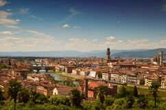 Florence from Michelle Angelo terrace. Photo shows beautifull view of the old town in Florence. On the main plan you can see the river with famous goldsmiths Royalty Free Stock Image