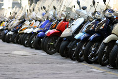 Florence Mopeds. Line of mopeds in downtown Florence, Italy royalty free stock image