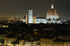 Florence by night. View of the Basilica di Santa Maria del Fiore Royalty Free Stock Photo