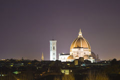 Florence at night. The illuminated Duomo in Florence at night Royalty Free Stock Image