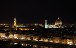 Florence night aerial cityscape. Panorama view from Michelangelo park Royalty Free Stock Images