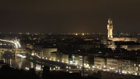 Florence night aerial cityscape timelapse stock video