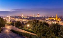 Florence night cityscape panorama after sunset Stock Photos