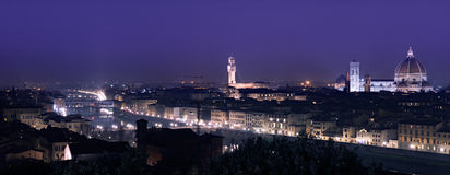 Florence night cityscape. Purple sky Stock Image