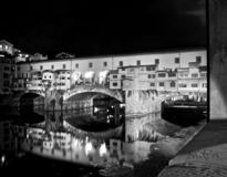 Florence by night in high contrast black and white stock image