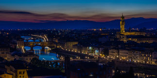 Florence at Night IV. A night shot of Florence highlighting the Palazzo Vecchio and Ponte Vecchio Stock Images
