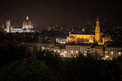 Florence by Night. Landscape from Piazzale Michelangelo Stock Photos