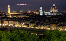 Florence at night. Palazzo Michelangelo viewpoint at night Stock Photos