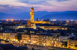 Florence night, Palazzo Vecchio Royalty Free Stock Photos