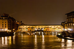 Florence by night, panorama with Old Bridge Royalty Free Stock Photo