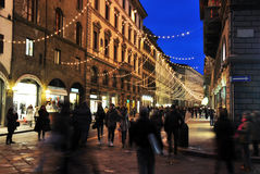 Florence night street wolking people Stock Images
