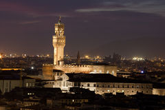 Florence, Night view of Palazzo Vecchio Royalty Free Stock Image