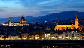Florence night view, Tuscany stock photo