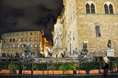 FLORENCE-NOVEMBER 11:Fountain of Neptune on Piazza della Signoria at night on November 11,2010 in Florence,Italy. Stock Photography