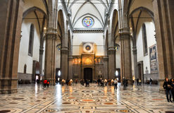 FLORENCE-NOVEMBER 10: The nave of the Basilica di Santa Maria del Fiore and the clock on November 10,2010 in Florence, Italy. Stock Photos