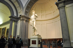 FLORENCE-NOVEMBER 10: Tourists look at David by Michelangelo on November 10,2010 in Academy of Fine Arts of Florence. Italy. Royalty Free Stock Images