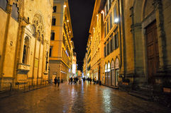 FLORENCE-NOVEMBER 10:Via dei Calzaiuoli at night on November 10,2010 in Florence,Italy. Royalty Free Stock Images