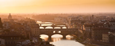 Florence, Old Bridge - Ponte Vecchio Firenze Italy. Shot from Piazzale Michelangelo in Florence a nice view of one of the most famous town's landmarks royalty free stock photo