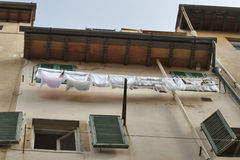 Florence old residential building with laundry Stock Photo