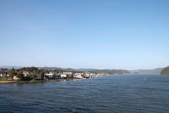 Florence Oregon på den Siuslaw floden Arkivbild