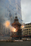 Florence,the outbreak of the Cart on Easter. Piazza Duomo, the wagon broke and now is doing the fire Royalty Free Stock Images