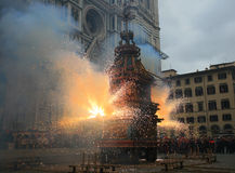 Florence,the outbreak of the Cart on Easter. Piazza Duomo, the wagon broke and now is doing the fire Stock Image