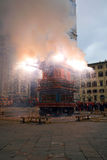 Florence,the outbreak of the Cart on Easter. Piazza Duomo, the wagon broke and now is doing the fire Stock Photography