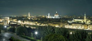 Florence på natten Arkivfoto