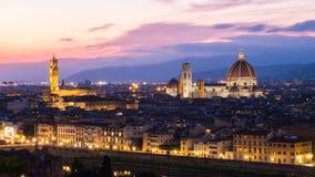 Florence på skymning, Italien Fotografering för Bildbyråer