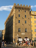 Florence, Palazzo Spini with tourists Stock Photo