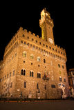 Florence, Palazzo Vecchio and David at Night. A night shot of Palazzo Vecchio in Florence, Italy. Michelangelo's David is displayed too Stock Photo