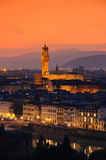 Florence Palazzo Vecchio evening. Florence, Tuscany, Palazzo Vecchio by night Royalty Free Stock Image