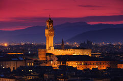 Florence Palazzo Vecchio evening. Florence, Tuscany, the Palazzo Vecchio by night Stock Photos