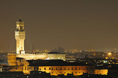 Florence, Palazzo Vecchio in the night Stock Photos