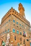 Florence Palazzo Vecchio, piazzadella Signoria. Royaltyfria Foton